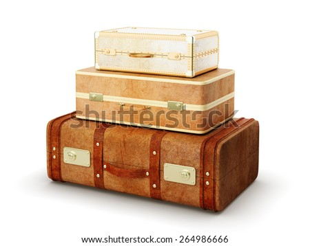 three brown leather suitcase on white background - stock photo