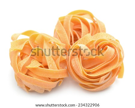 three bunches dried noodle on white background  - stock photo