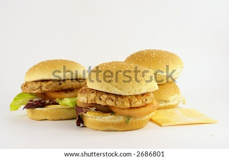 three burger - stock photo