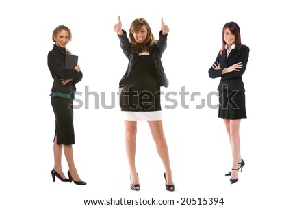 three businesswoman full figure - stock photo