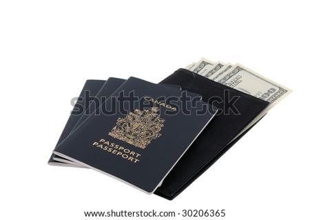 Three Canadian passports with several US 100-dollar bills - stock photo