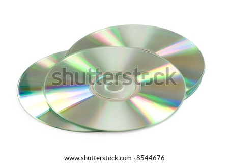 Three CD's isolated on the white background - stock photo