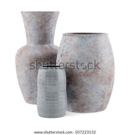 three ceramic vases isolated on white background. 3d illustration