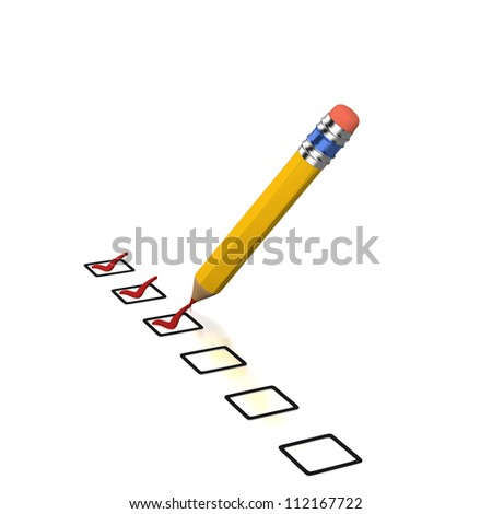 Three checked boxes with red ticks of list on white background - stock photo