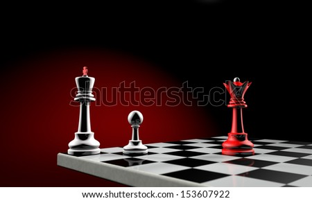 Three chess pieces (the white king, white pawn and red queen). Temy artistic background. - stock photo