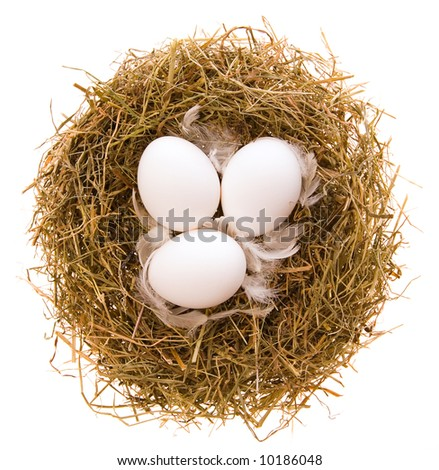 Three chicken white eggs and feathers in a nest from a dry grass on a white background