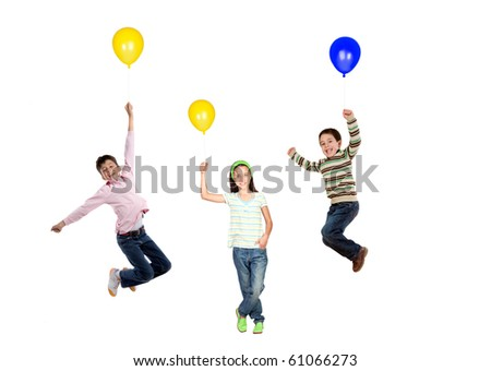 Three children flying with balloon inflated isolated on white background - stock photo