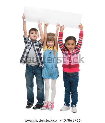three children  holding empty sheet of paper isolated on white background - stock photo