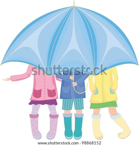 three children standing under an umbrella in rubber boots - stock photo