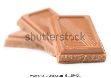 three chocolate bars isolated on white