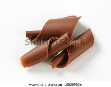 three chocolate curls - stock photo