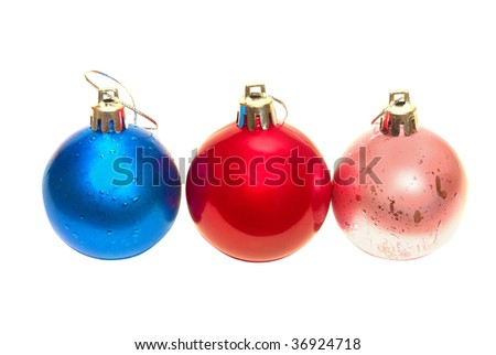 Three Christmas bauble isolated on white background.