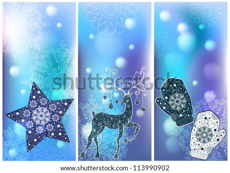 Three Christmas cards for your holiday design