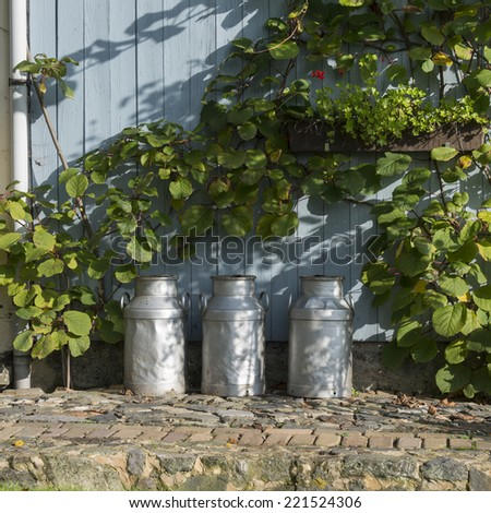 three churns for milk with plants and wood as background - stock photo