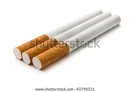 three cigarette isolatrd - stock photo