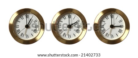 Three clocks showing different time isolated on white