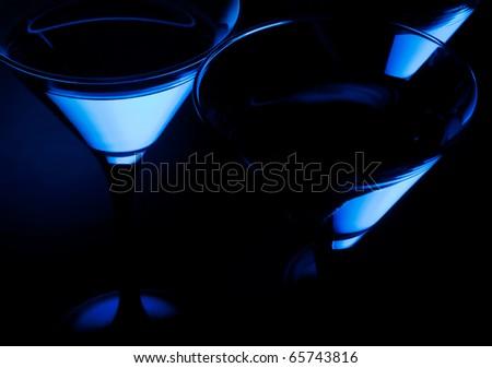Three close up martini glass - stock photo