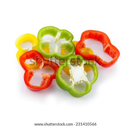 Three-color bell pepper, chopped isolated on white background.  - stock photo