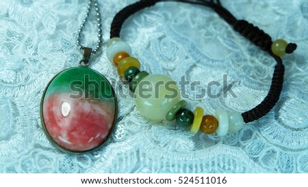 Three color jade necklace Honey Jade Bracelet Chinese people called the Fu Lu Shou.
