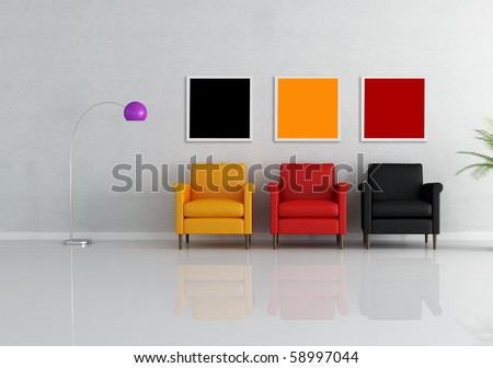 three colored armchair in a minimalist living room - rendering - stock photo