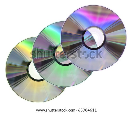 Three colored CD / DVD disks isolated on white. No scratches or dust.