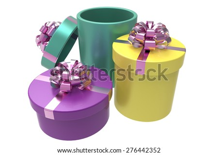 three colored gift boxes with shiny red bow-knots - stock photo