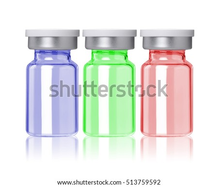 three colored little glass bottle for medical product