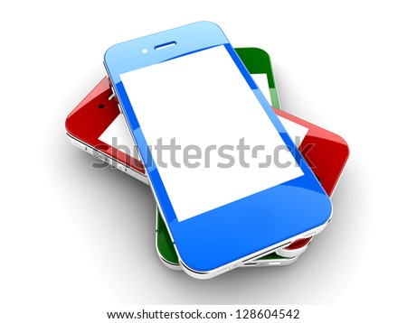 Three colored smartphones isolated on a white background with white copyspace on screen - stock photo