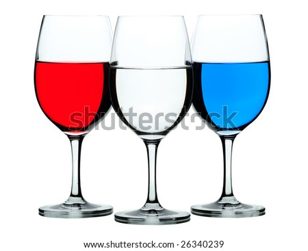 Three colored wine glasses isolated on white
