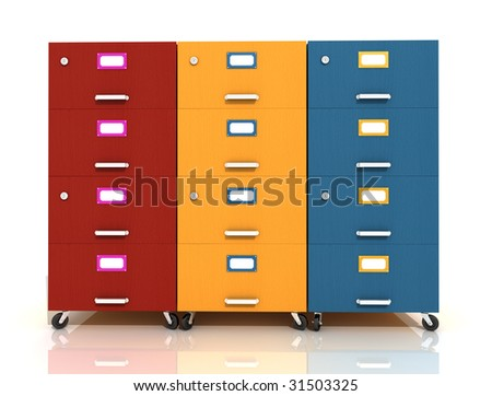 three colored wooden  file drawer on wheels isolated on white - rendering - stock photo