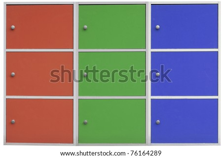 three colorful cabinets. - stock photo