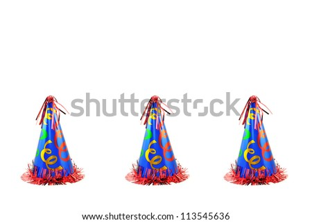 Three colorful celebration party hats, isolated on a white background with room for copy space.