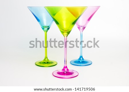 Three colorful martini glasses - stock photo