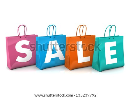 Three colorful shopping bags with the text SALE. White background. - stock photo