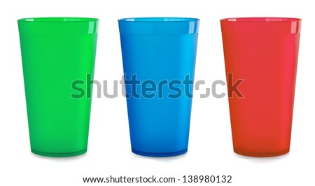 Three colorfull empty plastic cups isolated on white - stock photo