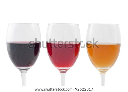 Three Colors of Wine. Isolated on white background, with clipping path included.