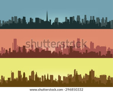 Three coloured contours of city.