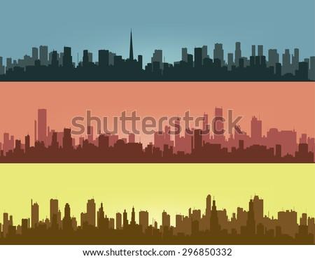 Three coloured contours of city. - stock photo