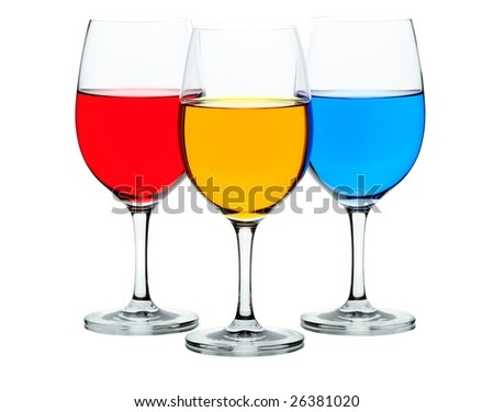 Three coloured wine glasses isolated on white