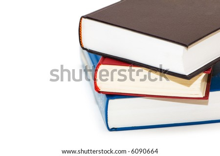 Three colourful books isolated on the white - more similar photos in my portfolio - stock photo