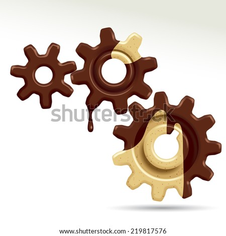 Three confectionery gears of different sizes.  - stock photo