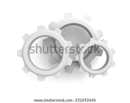 three connected cogwheel gears on white background. 3d render illustration - stock photo