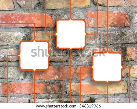 Three connected orange square frames on aged brick wall background - stock photo
