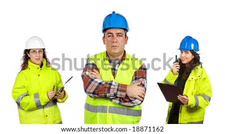 Three construction workers over a white background. Focus at front - stock photo