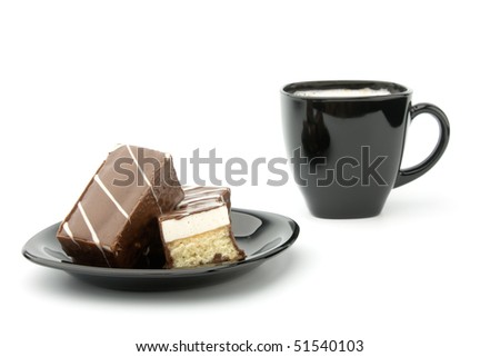 three cookie in chocolate on black plate and cup of coffee isolated on white - stock photo