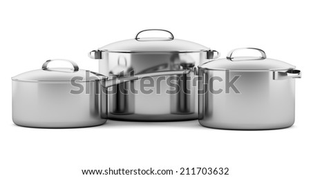 three cooking pans isolated on white background