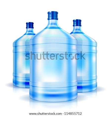 Three cooler isolated bottles of water. Vector illustration - stock photo