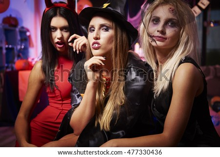 Three creepy ladies at the party