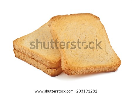 three crispy toast on white background