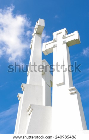 Three cross in Vilnius Lithuania - stock photo